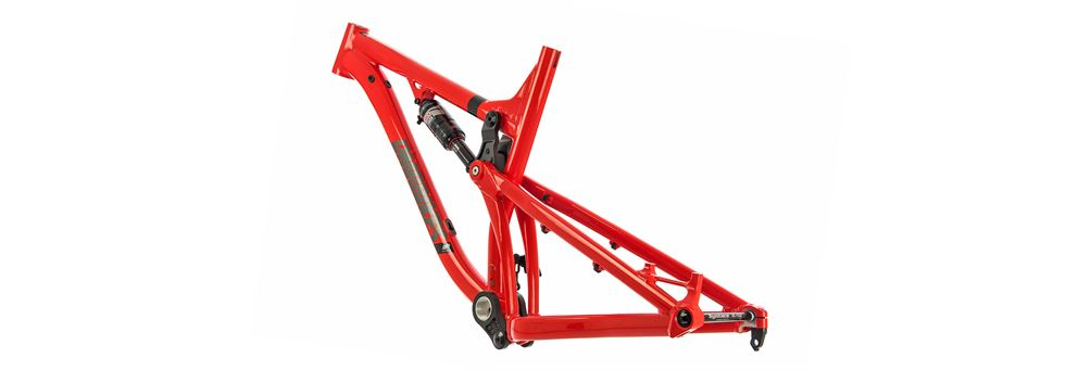 Red DMR Sled full suspension mountain bike frame