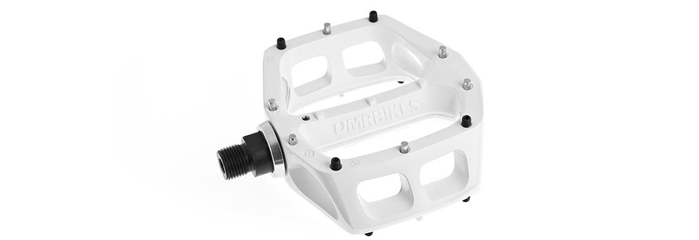 White DMR V8 mountain bike pedals