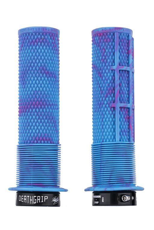 DMR Brendog DeathGrip Grips: Flange Thick Blue Soft Compound